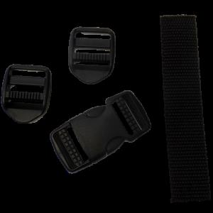 Black plastic ladder locks, side release buckle and webbing